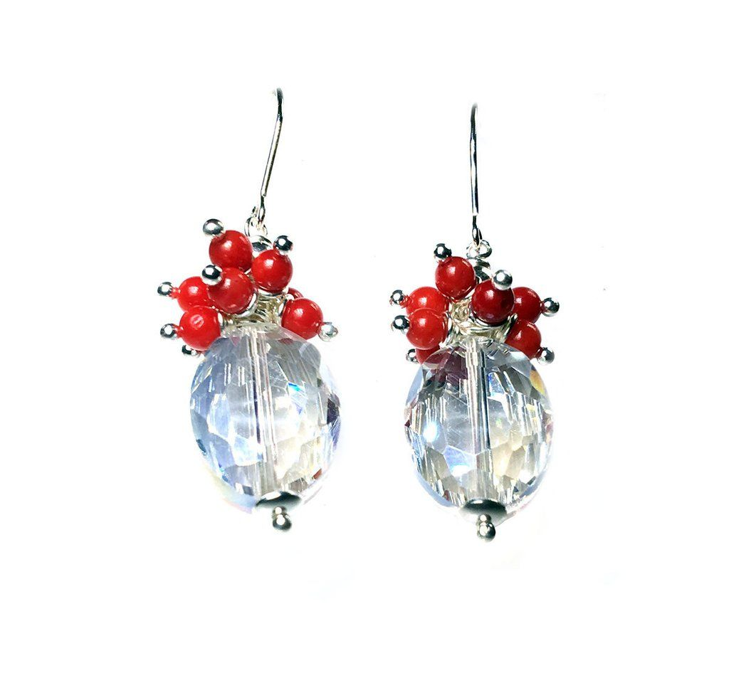 Earrings - Chrystal and Red Coral