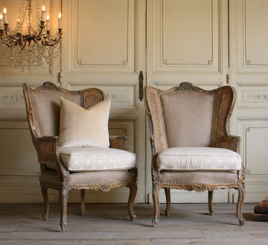 Pair Louis XV French Style Wing Bergeres Cane An Inspired Room