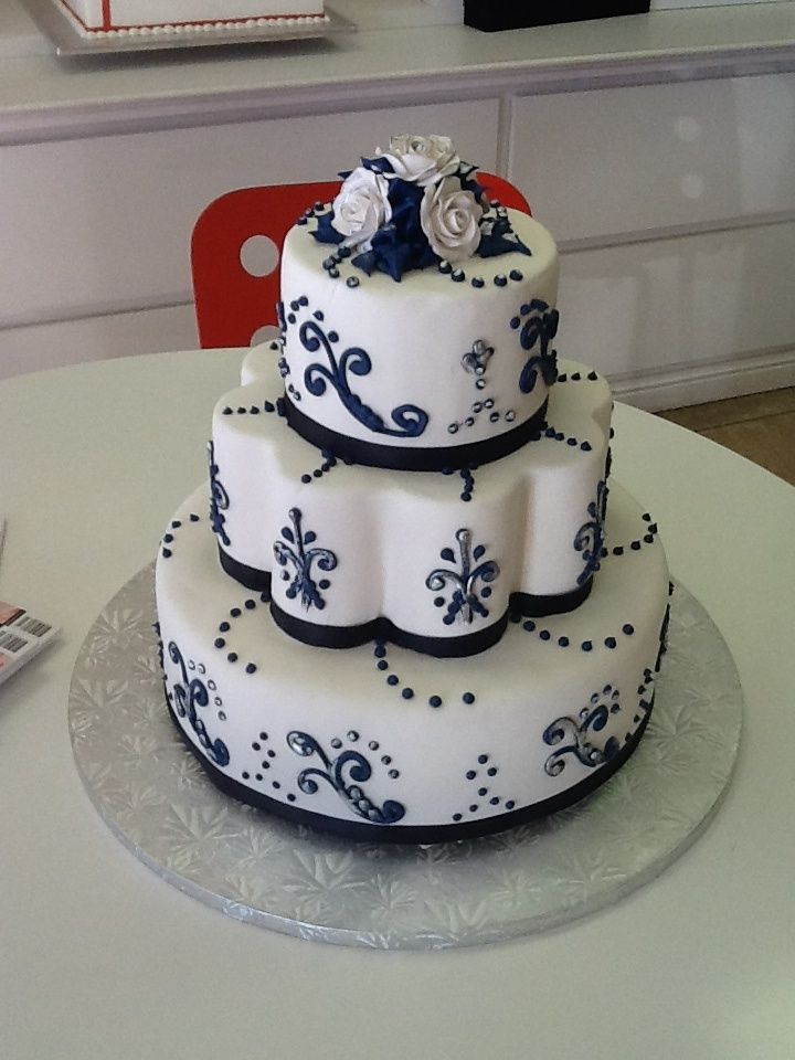 Navy Blue And Silver Wedding Cake Please Like For Ideas