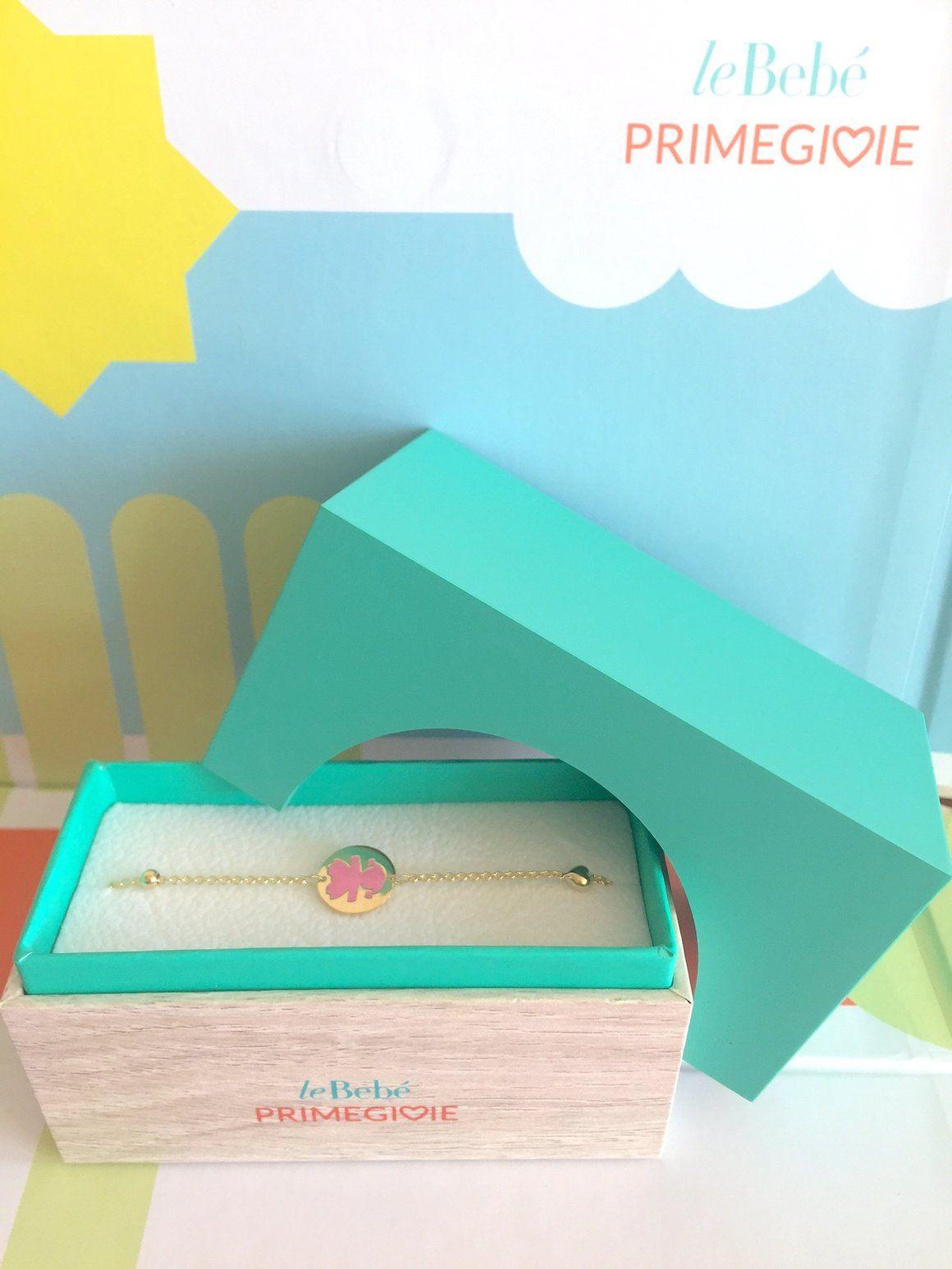 Yellow gold u pink enamel bracelet for babies u toddlers girls