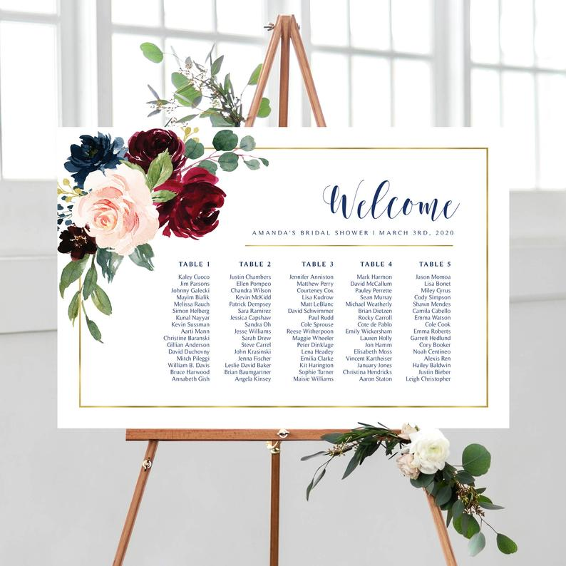 Wedding Seating Chart Personalized Seating Plan By Table Burgundy And Navy Greenery Marsala Pdf And Jpg Files In 2020 Seating Chart Wedding Wedding Seating Bridal Shower Welcome Sign