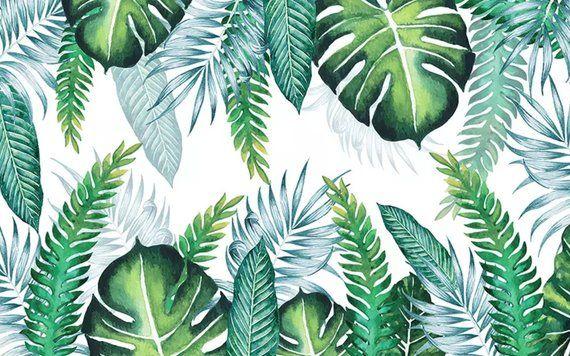 Leaf Wallpaper Tropical Leaves Wall Murals Watercolor Wall