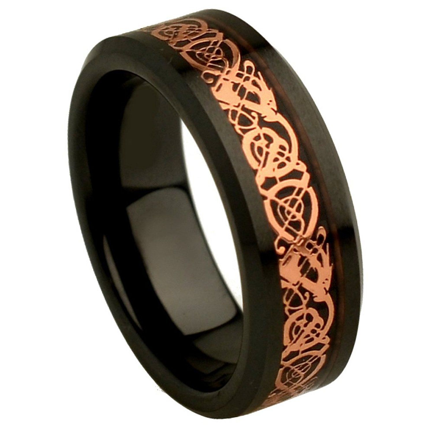 8mm high polish finish pink rose gold tribal dragon inlay beveled