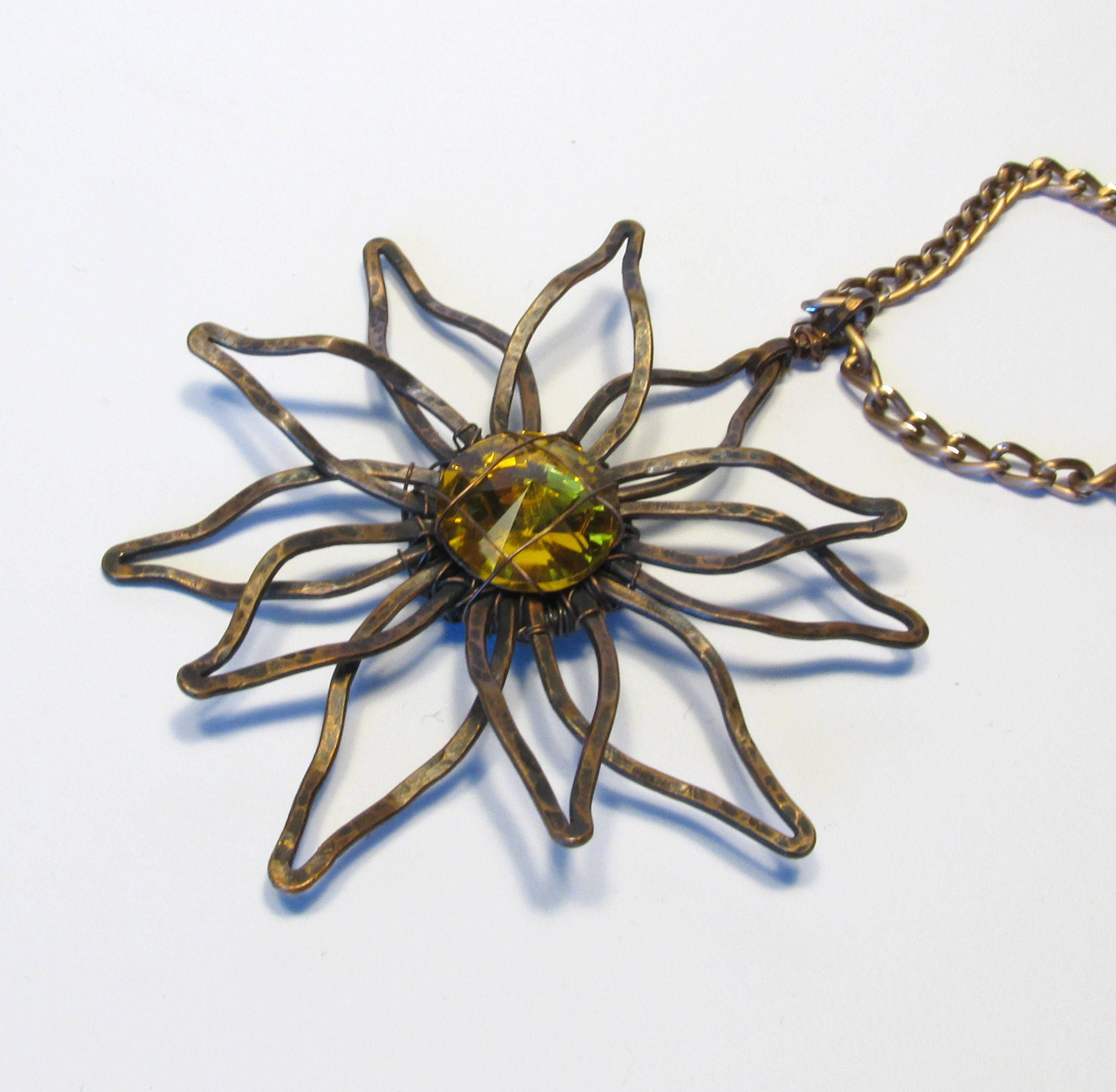 Flower pendant, Edelweiss necklace, sunflower, gold crystal jewelry ...