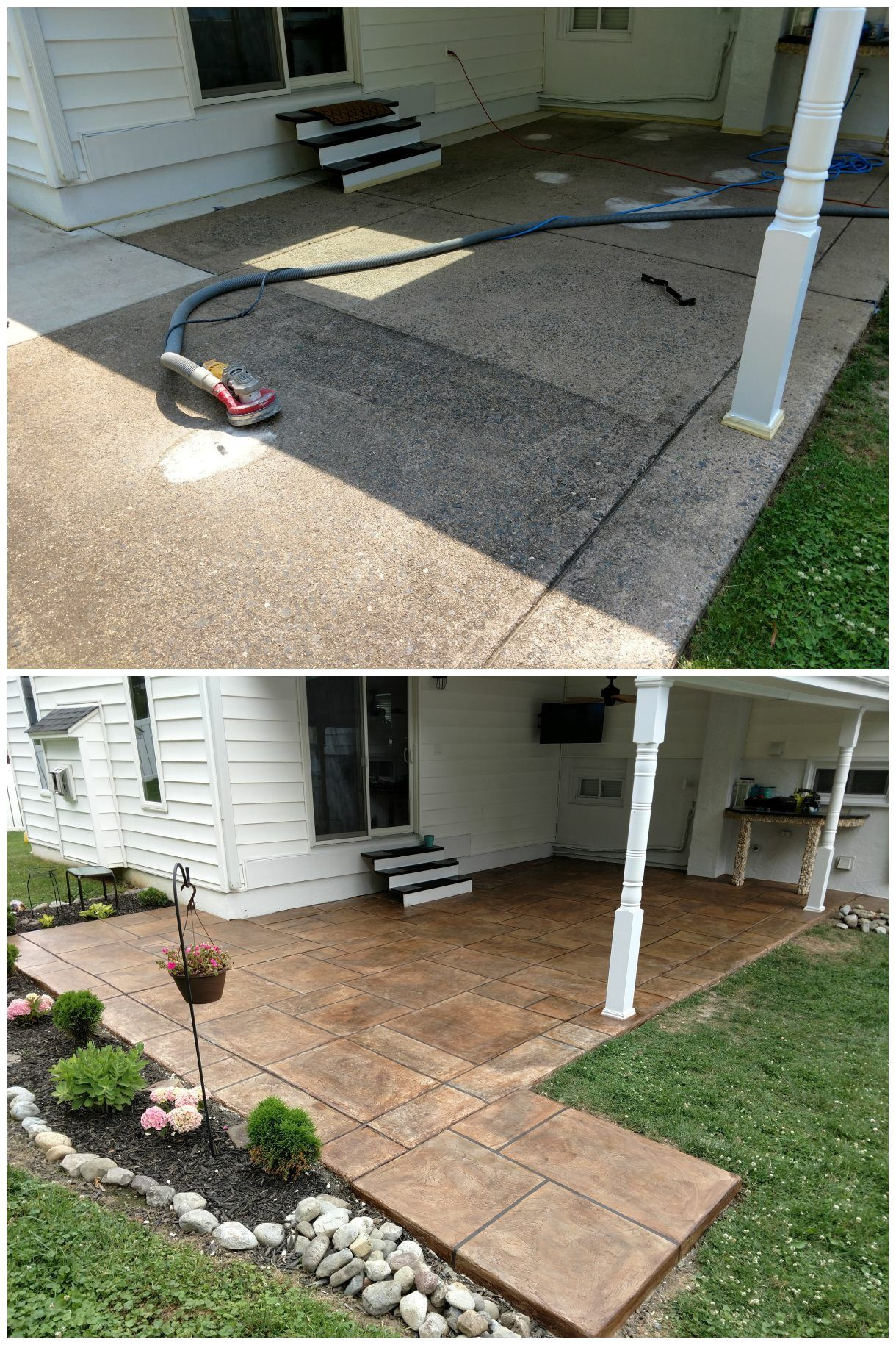 Resurfaced Concrete Patio With Border Concrete Patio Patio