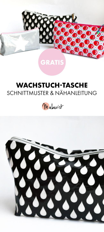 Gratis Anleitung: Wachstuch-Kosmetiktasche nähen - Schnittmuster und ...