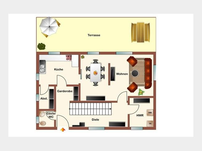 grundriss eg typ c variante b einfamilienhaus von hogaf hausbau gmbh ger umige diele offener. Black Bedroom Furniture Sets. Home Design Ideas