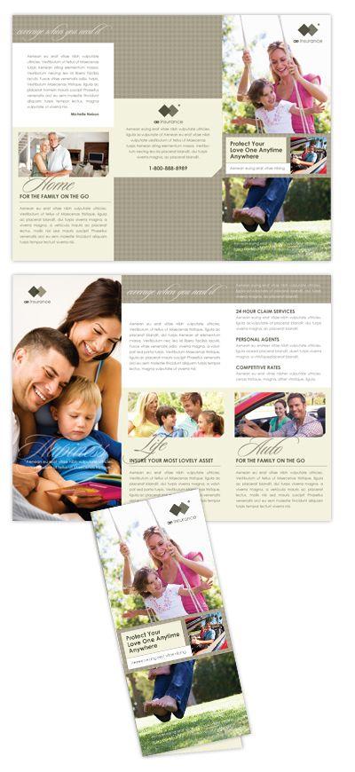 Life Auto Insurance Company Tri Fold Brochure Template Life - Insurance brochure template