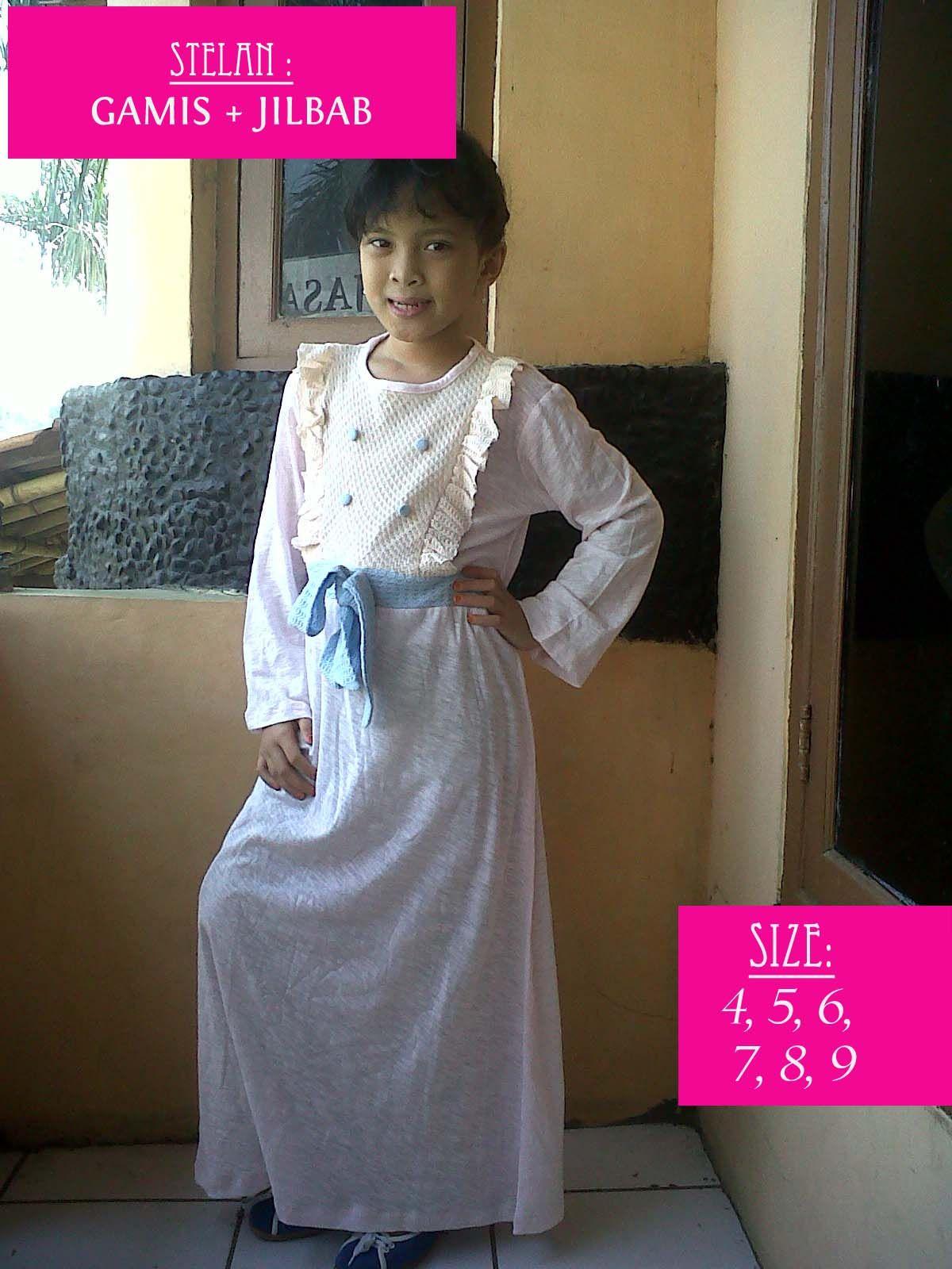 Baju Gamis Kaos Anak GRATIS JILBAB KEREN Size 4 5 6 7 8