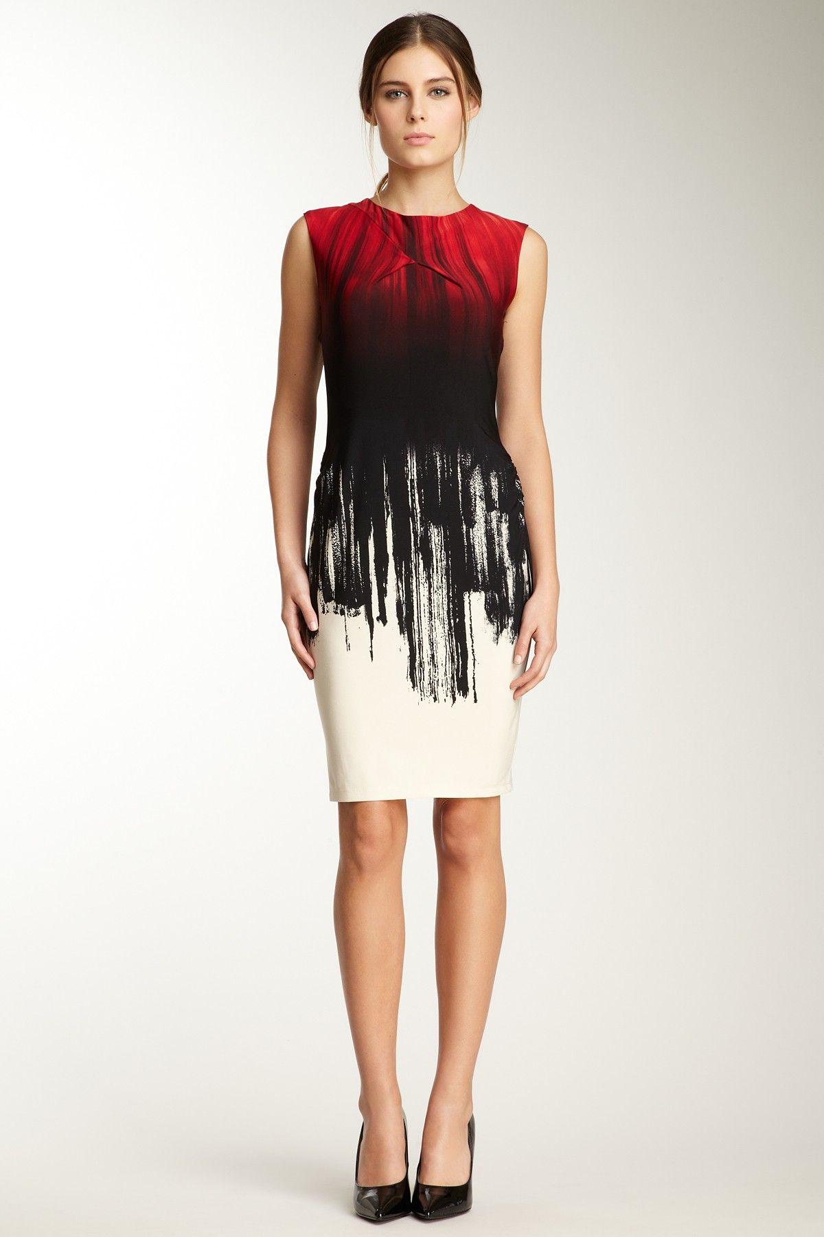 Calvin klein red bandage dress