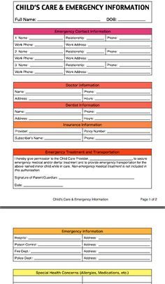 ChildS Care And Emergency Contact Information Form For Caregivers