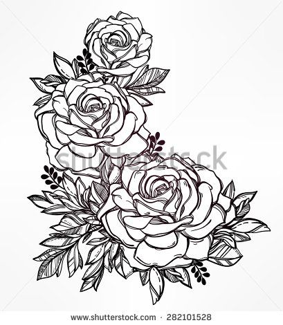 Vintage Floral Highly Detailed Hand Drawn Rose Flower Stem With Roses And Leaves Victorian Motif Tattoo Design Ele Hip Tattoo Designs Hip Tattoo Rose Tattoos