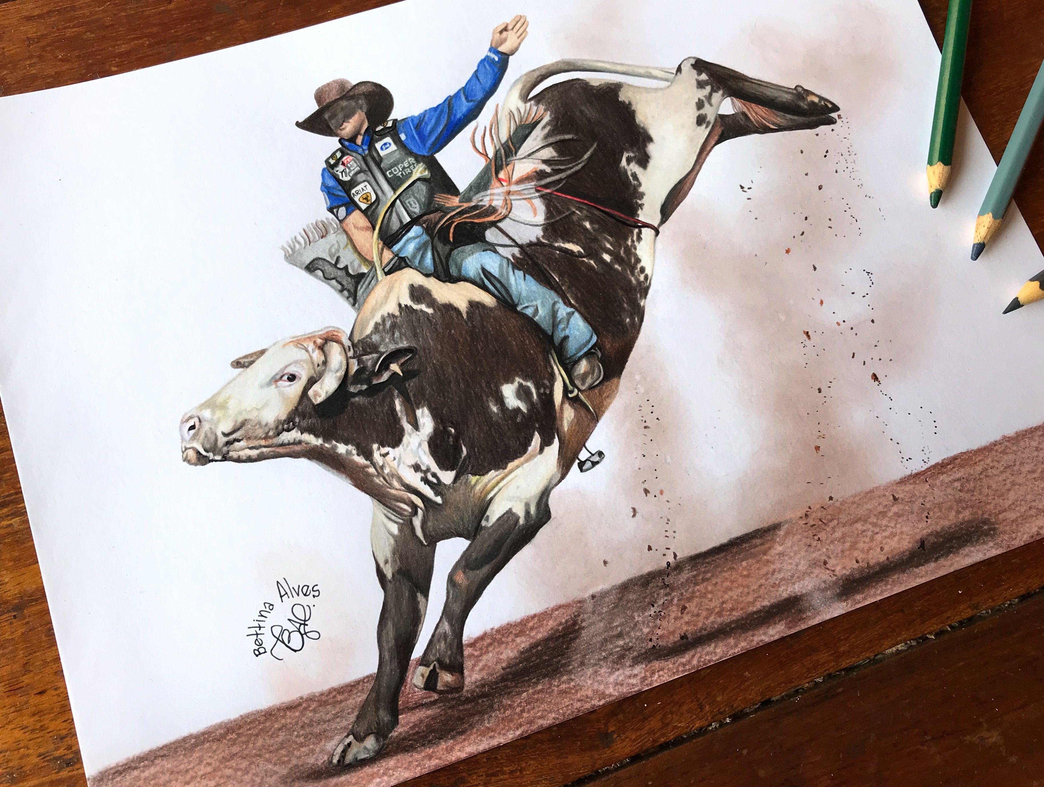 Desenho Rodeio Em Touro Eduardo Aparecido Bettina Alves Bull Rider