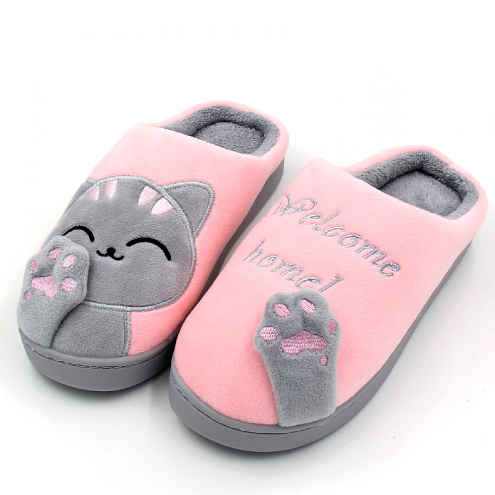 Winter Warm Home Slippers Cartoon Non-Slip Home Shoes Ladies Indoor Floor Bedroom Lovers Couple Plush House Shoes