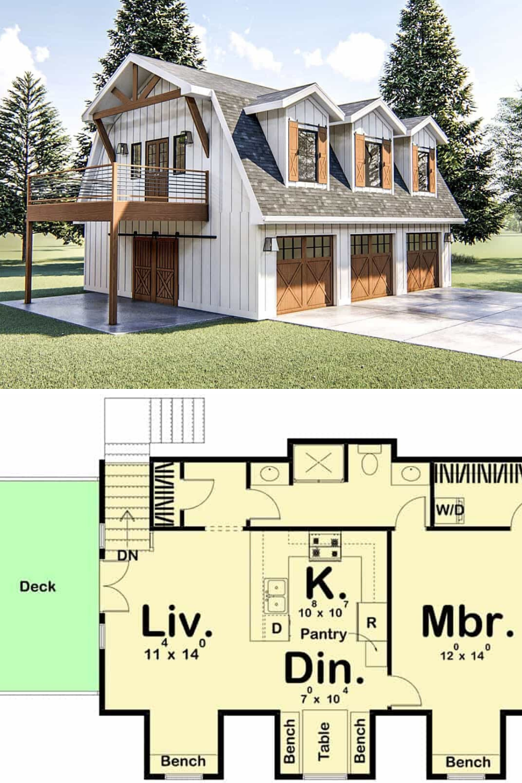 Two Story 1 Bedroom Modern Barn Like Garage Apartment Floor Plan