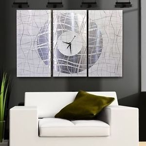 Large Modern White Silver Metal Abstract Wall Clock