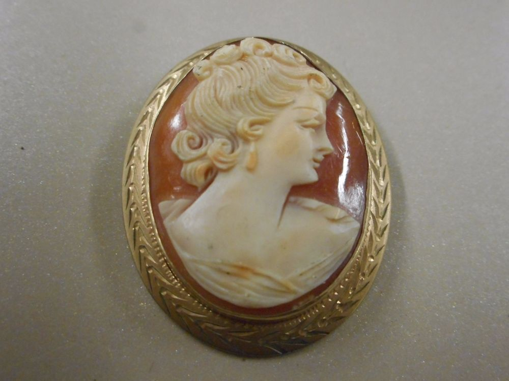 Vintage Shell Cameo Gold Filled Pendant and Pin.