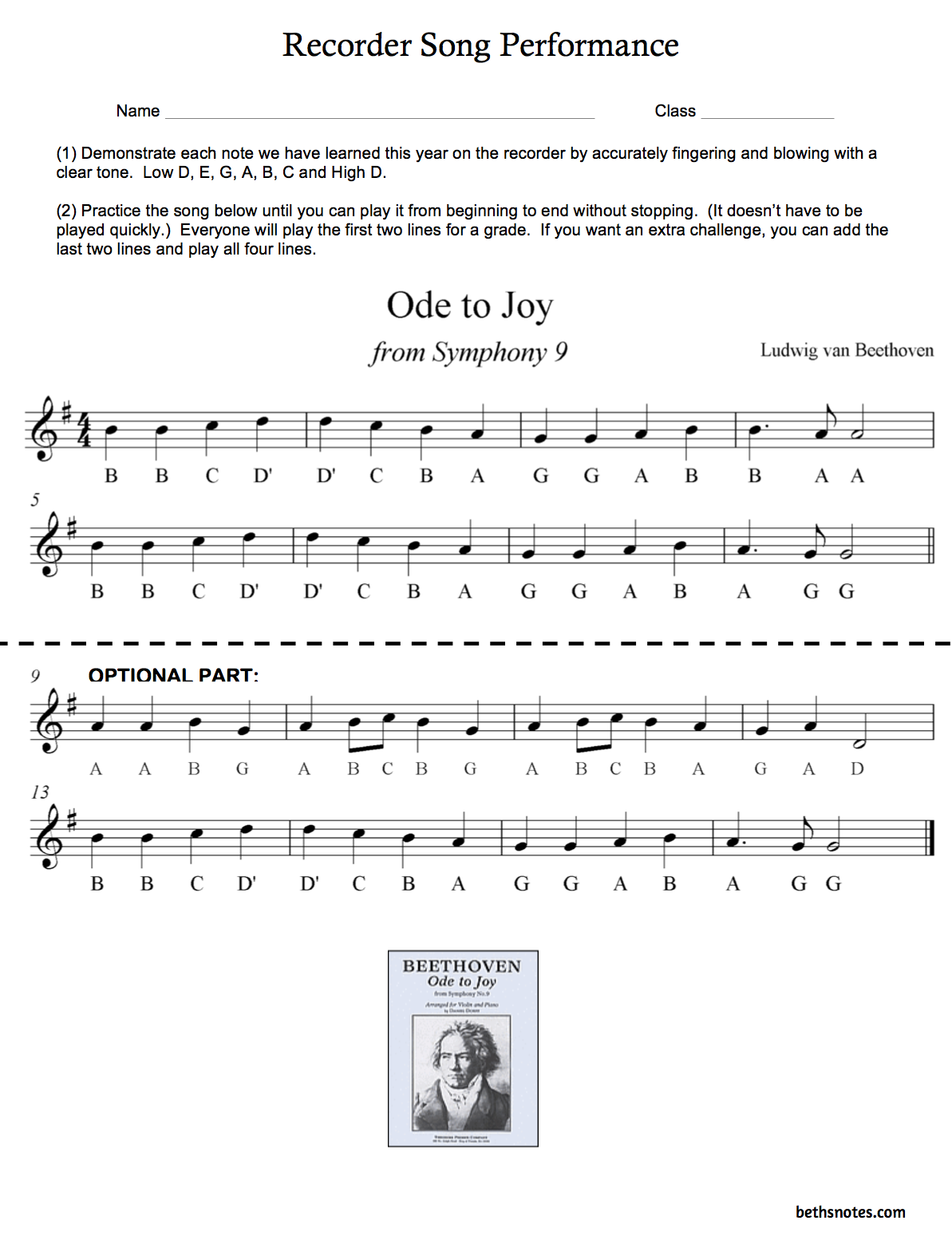 Beth S Music Notes Recorders Ode To Joy