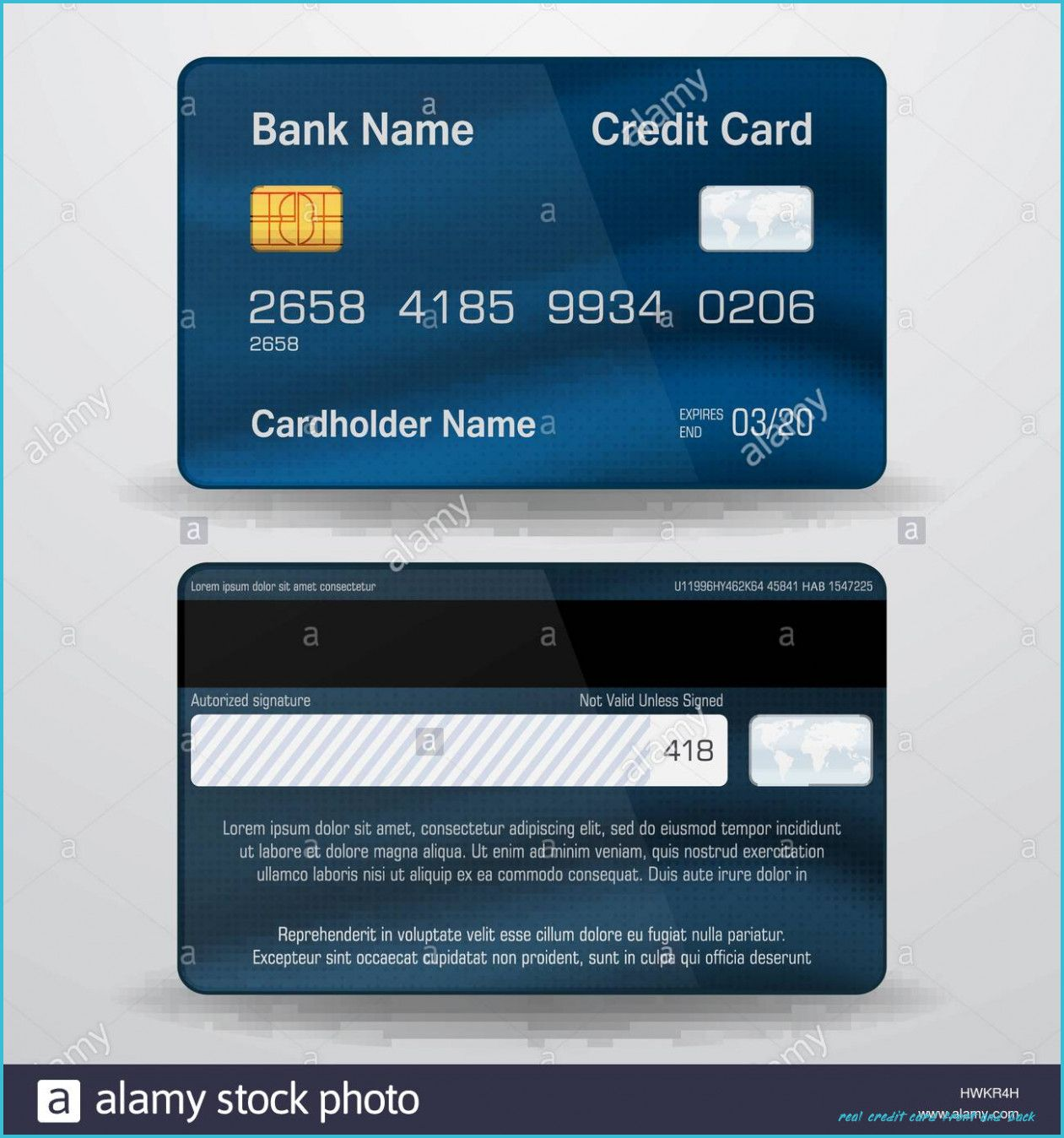 real credit card numbers front and back