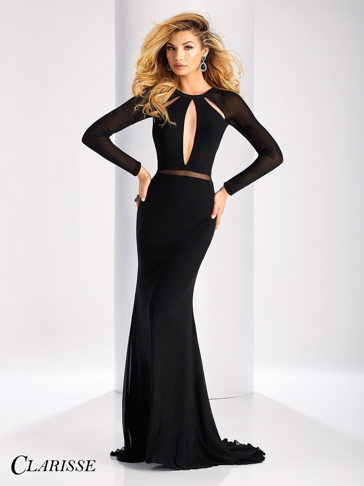 Clarisse prom black long sleeved open back prom dress prom