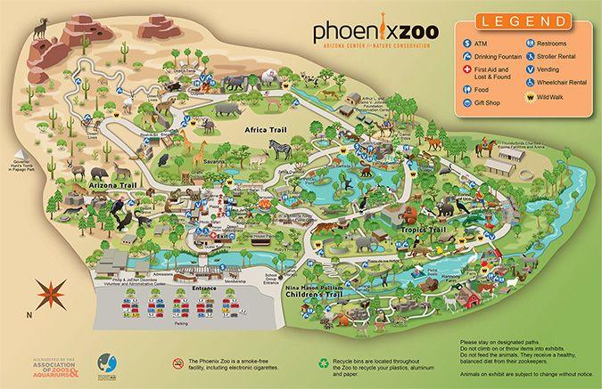 Phoenix Zoo Map Zoo Map BACK.eps | Retirement | Zoo map, Zoo project, Map