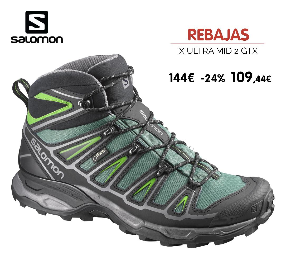Oferta botas montaña Salomon X Ultra Mid GTX Azul Amarillo
