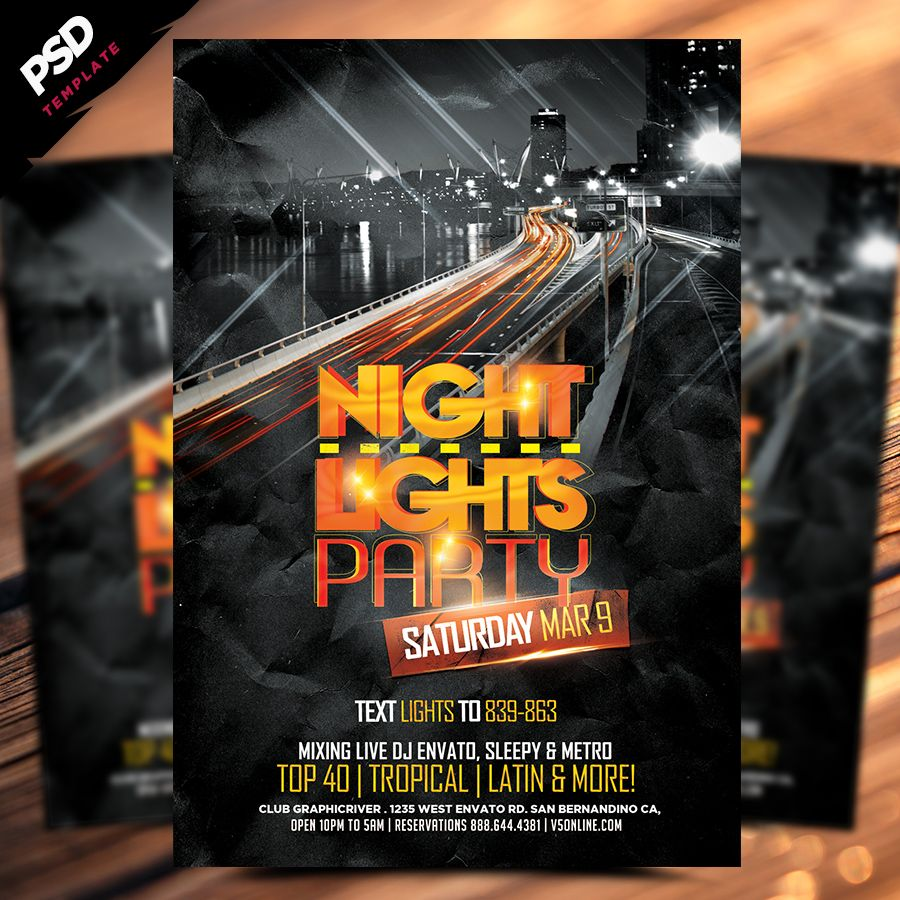 Night Lights Flyer Template Is A  Free Photoshop Psd Flyer