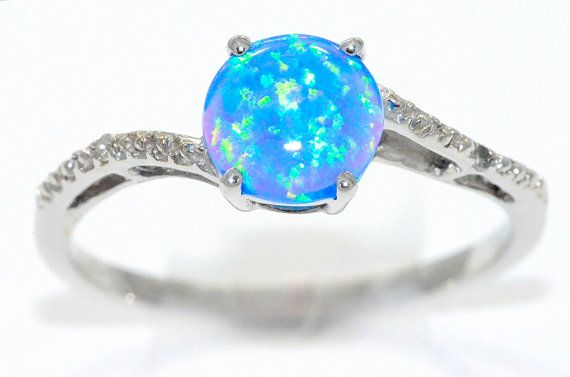 Blue Opal Diamond Round Ring 925 Sterling Silver Dainty Gift For