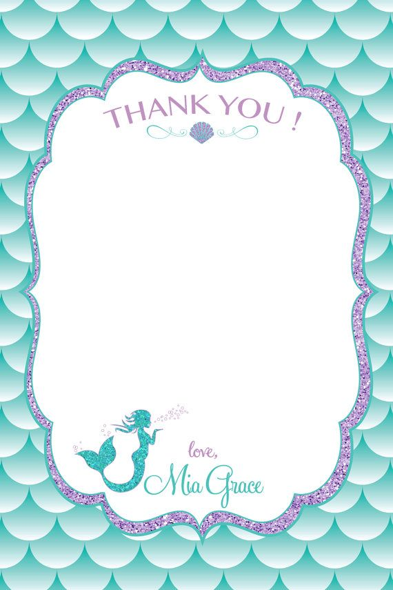 Tarjeta De Cumpleaños Gracias Sirena Sirena Parte Por