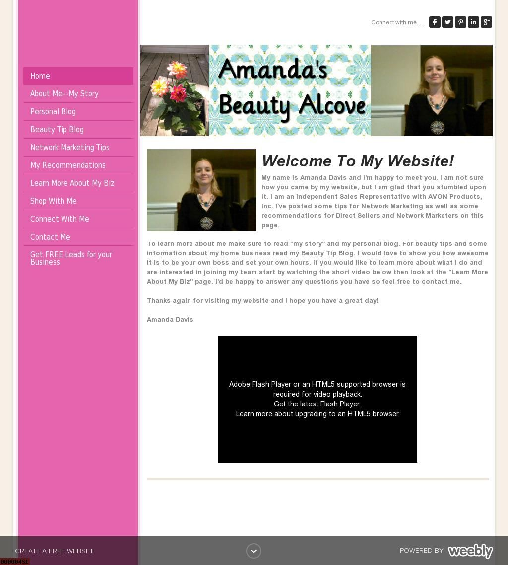 My website Amanda's Beauty Alcove for My AVON Business as