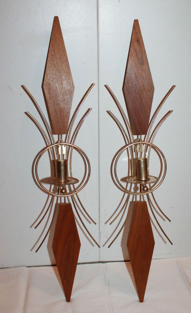 Details about Vintage MCM Syroco 1967 Candle Holder Wall ... on Decorative Wall Sconces Candle Holders Chrome id=91269