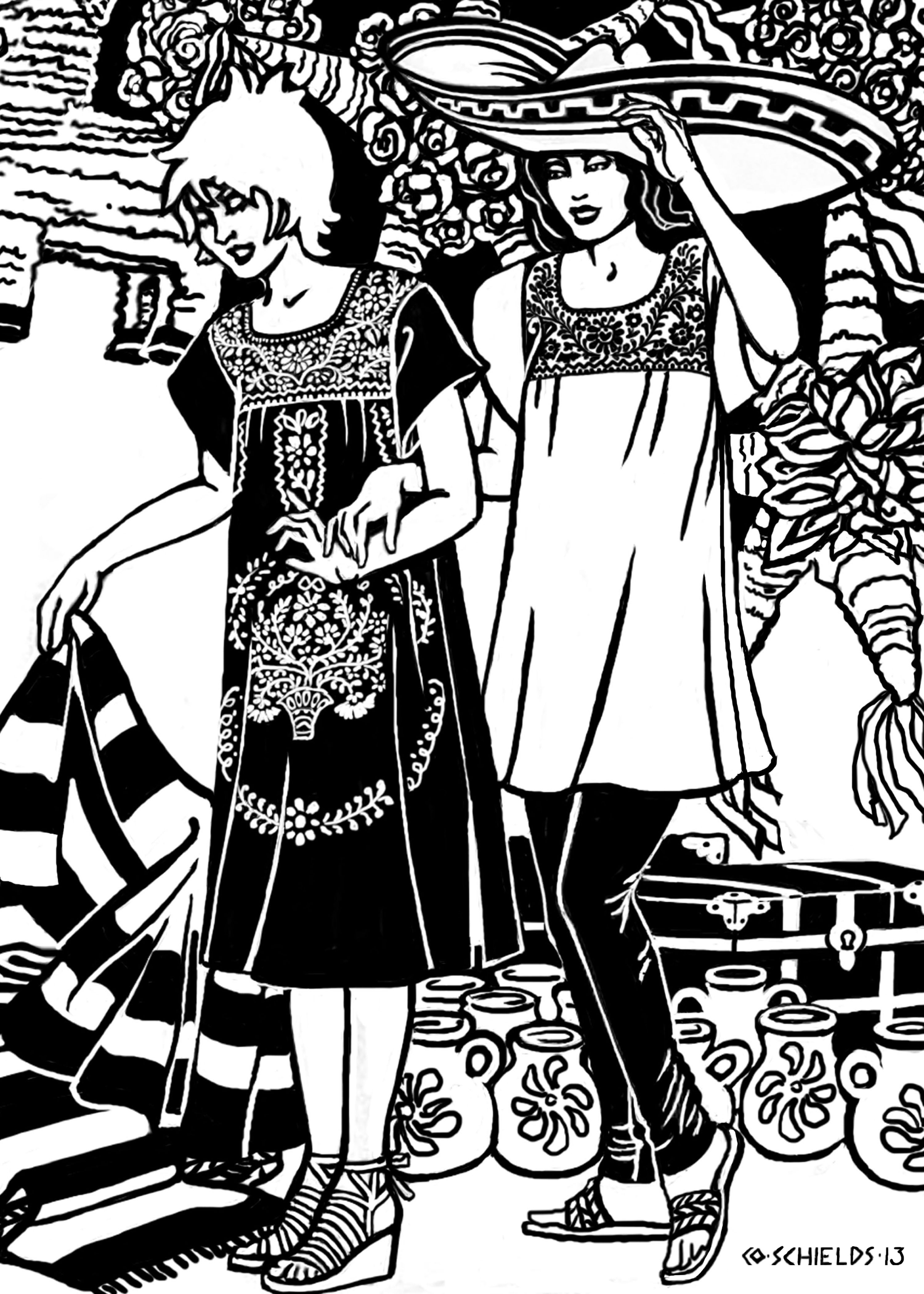 142 old mexico dress adult coloring pages pinterest mexico Vintage Gunne Sax Jessica McClintock new pattern 142 old mexico dress is an easy sew pattern for the traditional mexican peasant dress or blouse it has just four pattern pieces short sleeves
