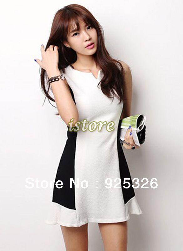 2013 New Fashion women dress Lady's Elegant OL Sleeveless V Neck SLIM FIT Splicing summer Mini Party Dress black white 17195-in Apparel & Ac...