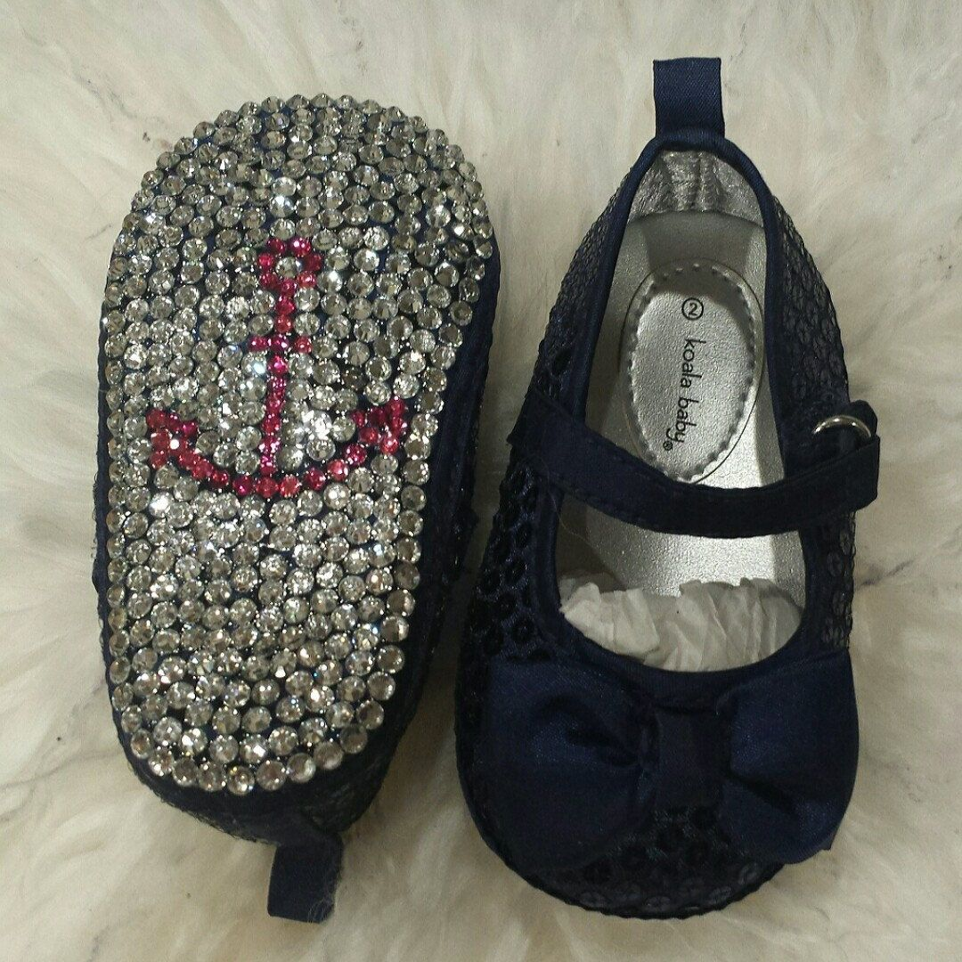 Brand new nautical baby crib shoes! Hot pink rhinestone anchor and clear rhinestone sole! https://www.etsy.com/listing/267412440/nautical-navy-blue-sequined-baby-shoes