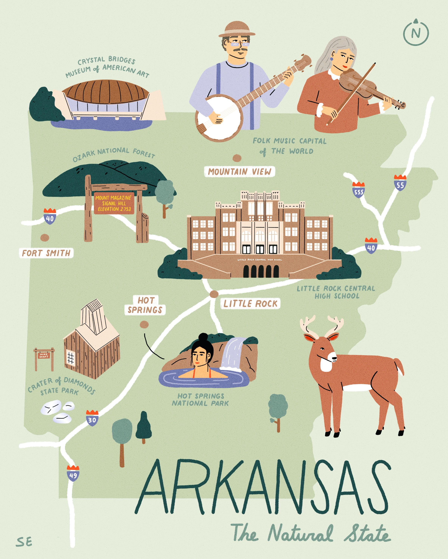 11x14 Arkansas Rooted Print