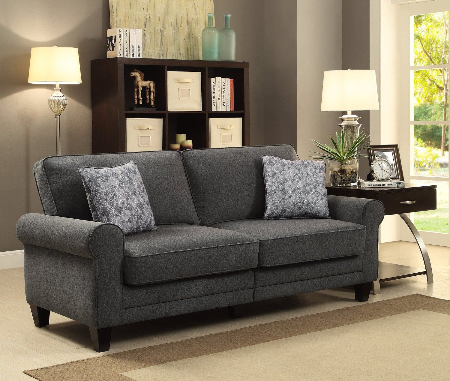 Amazon Sofa Bed Grey Serta At Home Cr46222pb Rta Somerset Collection 73 Inch Fabric