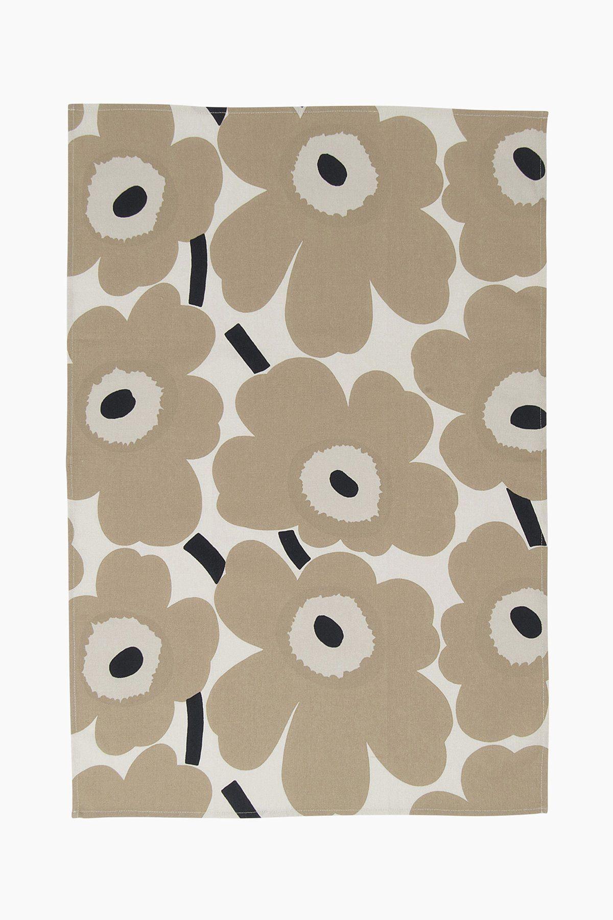 Marimekko Unikko Tea Towel Pair - BEIGE/WHITE/BLUE 185
