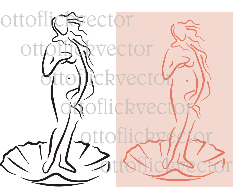 BIRTH OF VENUS vector clipart, digita file eps, cdr, ai, png, jpg ...