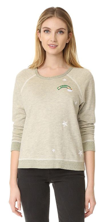 On SALE at 50% OFF! patches sweatshirt by SUNDRY. A patch with 'Army' lettering and embroidered stars details this soft SUNDRY sweatshirt. Ribbed edges and long raglan...