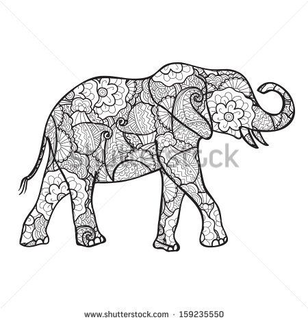 vector elephant silhouette with indian floral pattern ...