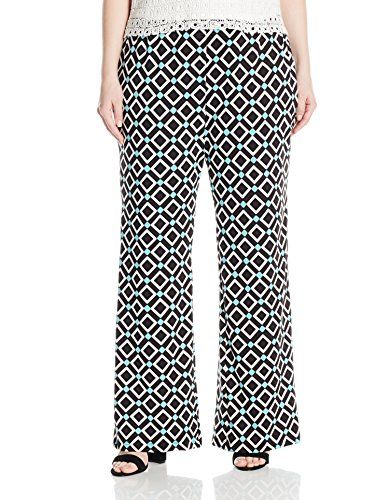 Notations Womens Plus Size Printed Palazzo with Elastic Waistband Jade Renewal 2X * Be sure to check out this awesome product.Note:It is affiliate link to Amazon.