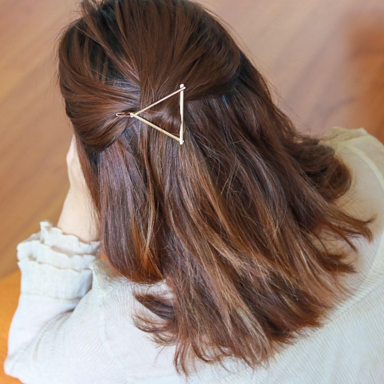 Classic Triangle Hair Clip In Gold Triangle Hair Hair Accessories Curly Hair Styles