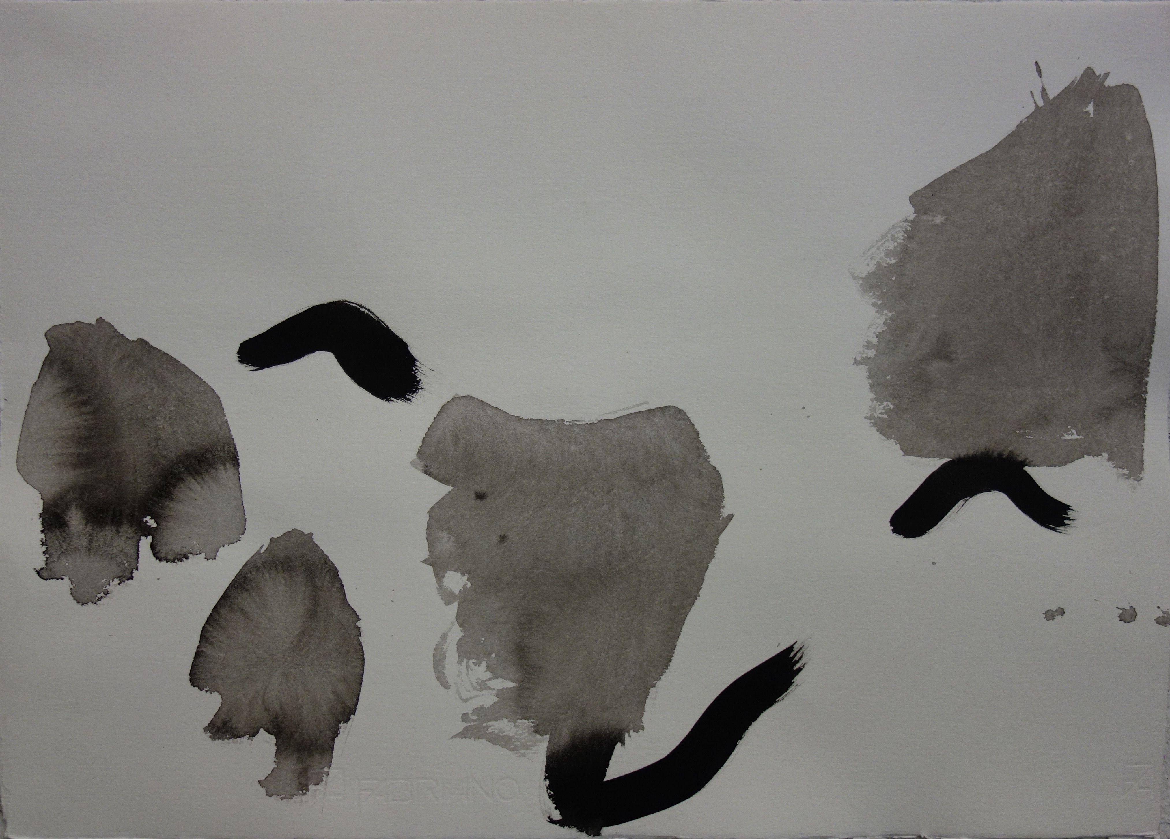 Landskap, tusch, 35x50cm