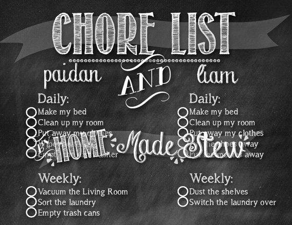 Customizable Chalkboard Chore Chart With Images Chore Chart