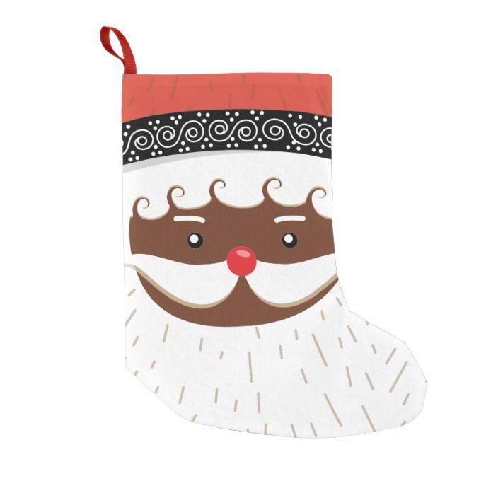 afro american santa small christmas stocking #stocking #christmas #sock #xmas
