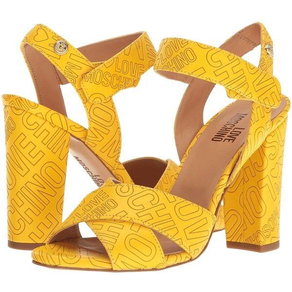 LOVE Moschino Embossed Logo Heel (Yellow) High Heels ($235 ...