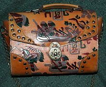 Vintage+1980s+Egyptian+Motif+leather+tooled+painted+purse+with+studs.