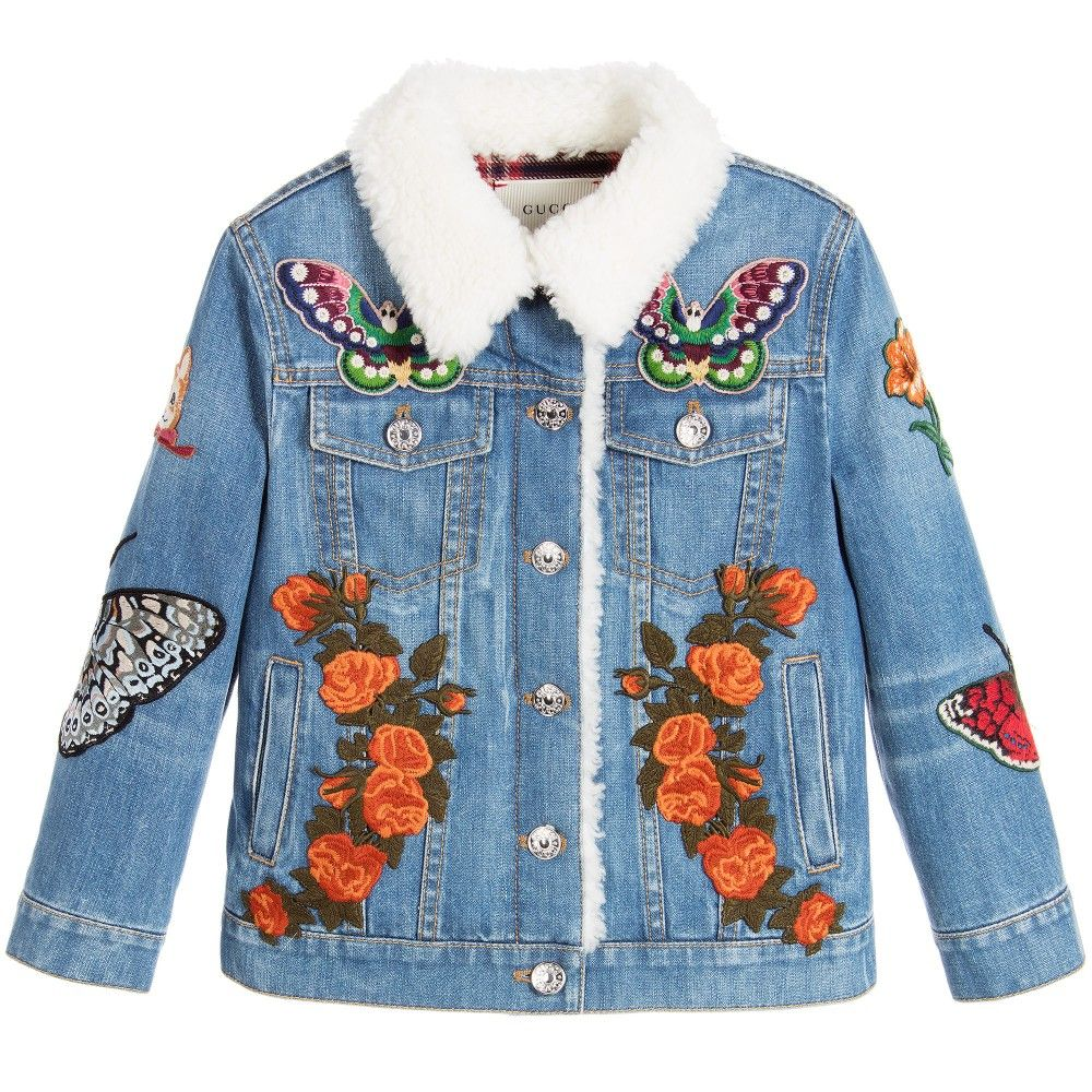 Rihanna Wears A Gucci Embroidered Denim Jacket