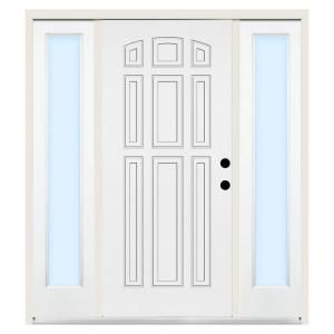 Steves Sons Premium 9 Panel Primed White Steel Entry Door With 12 In Clear Sidelites 1090 Dslcli At The Home Depot Entry Doors Clear Glass Doors