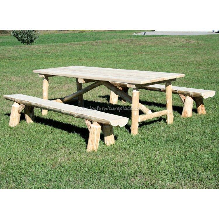 Superb Cedar Lake Log Picnic Table Bench Set Log Furniture Creativecarmelina Interior Chair Design Creativecarmelinacom